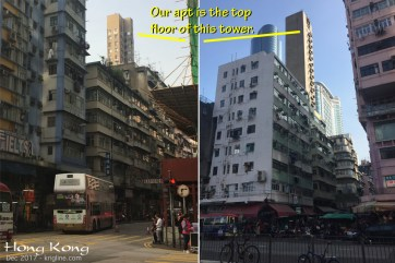 """One reason we have such a nice view is because we are the top floor of a """"needle"""" (one small apartment per floor) that sticks up over countless older buildings. HK has many taller buildings, but we feel fortunate to have found this 22nd-floor apartment."""