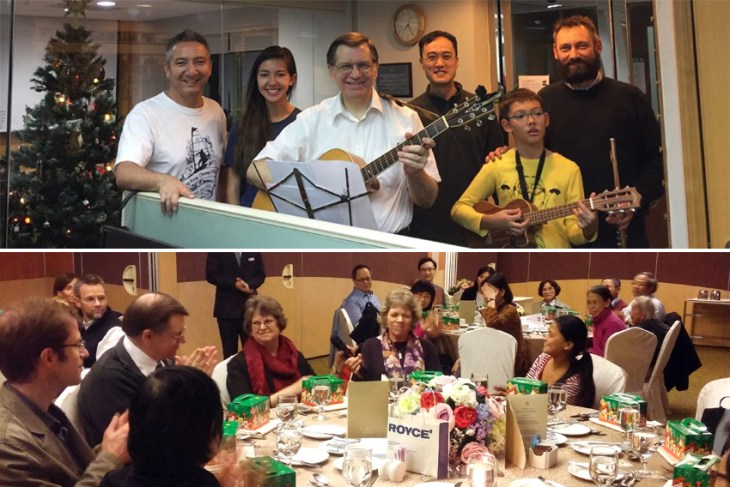 Some work-related photos: every Christmas our Board throws a nice party for the staff and friends (bottom), and every six months we invite friends to the office for an hour of Sunday-night worship. Both evenings were joyful and refreshing!