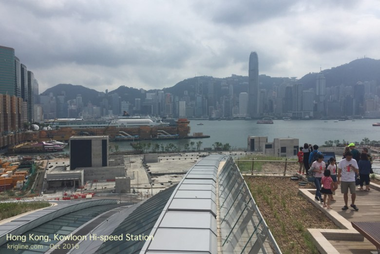 While we were in the US, the new Hi-Speed rail terminal opened in Kowloon, so we walked over for a look. It's a nice, spacious building, and they were even kind enough to create a roof you can walk on, with a great view!