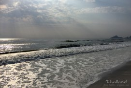 """Vivian snapped this pretty morning photo of the beach """"in town"""" where we stayed for two days after conference (it was cheaper!). We will look forward to returning to Hua Hin next year as well."""