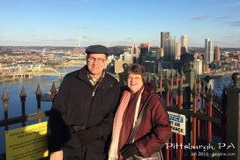Our son and his wife live in Pittsburgh, a few hours' drive east. The city view up here was nice, but we were freezing!