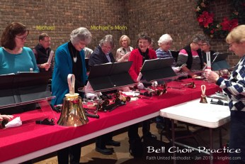 After attending a short concert of Faith UM Church's bell choir, they invited the audience to give it a try. After some persuasion, my Mom and I volunteered--and had fun making beautiful music together!