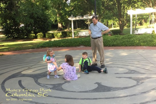"Maxcy Gregg also has a ""maze"" that the kids like to rush through. OK, so they don't understand the ""contemplative"" purpose of the design, but it is fun to be there together."
