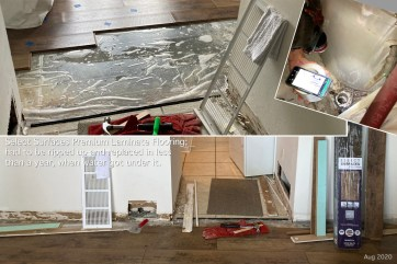"""Before we moved into our apartment last fall, we replaced worn-out carpet with Select Surfaces Laminate Flooring. With a """"lifetime warranty,"""" we expected this """"luxury"""" product to serve us for many years. Sadly, water from the air conditioner quietly spilled and got under the floor!"""