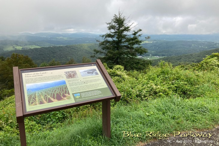 """Here's a nice view at the Air Bellows Overlook. The sign talks about farming """"then and now""""; now, many Christmas Tree farms are in this valley."""