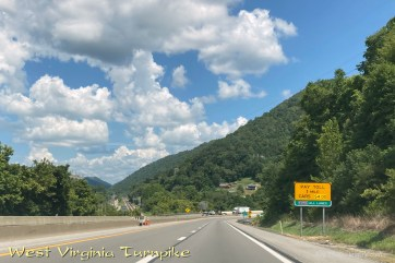 The drive from South Carolina to Ohio takes about 9 hours, but it includes several hours of beautiful hills, particularly in West Virginia. (Drivers pay a total of $12 in West Virginia, but the rest of the trip is covered by our taxes.)