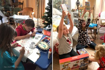 Left: CJ and Christy use their creative skills to make personal gifts. Right: They celebrate Uncle Andrew's Christmas generosity in the form of Nintendo Switch and favorite games.