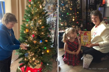 Left: Grandma finishes decorating our Christmas tree. Right: Grandma shows Caroline the pretty decoration a little girl (from India) on our hallway made for us.