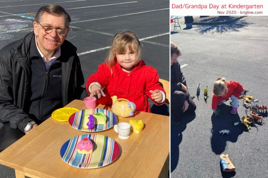 When Caroline's kindergarten called, I said I'd again be happy to be surrogate papa on Daddy Day. Because of COVID, activities were all set up outside, and the class was divided so few of us would be present at one time. Fun morning!