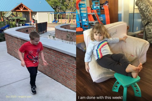 "Left: CJ runs past me, sporting his new haircut. Right: Vivian snapped and captioned this photo of our our 3-year-old grandchild, who seems to have ""had enough"" for one week!"