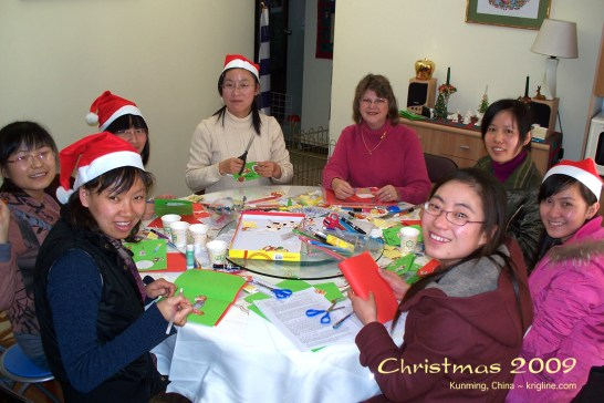 "In addition to our ""decorate the tree"" parties, we had annual parties in which Vivian helped students make Christmas cards."