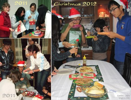 These three photos attempt to show how popular Vivian's Christmas treats were with our students! She often invited a few to learn how to make cookies, etc.