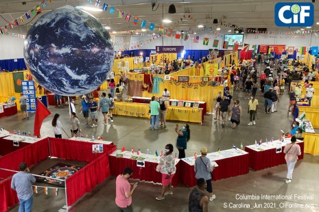 Columbia International Festival, June 5&6 2021, filled two buildings at the State Fairgrounds with sights and tastes from around the world. This is the main National Exhibitions center in the Cantey Building.