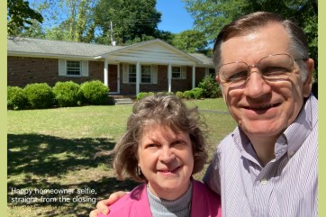 """It was """"on the market"""" for only a few hours (mid-April); someone took out a contract; two weeks later, they backed out; the price went up $10K; we made an offer and had a contract hours later. We took this selfie just after we """"closed"""" in mid-May."""
