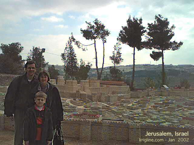 The Kriglines, standing by a model of how Jerusalem looked 20 centuries ago. This model has been used in movies about the life of Jesus.
