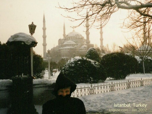 Andrew freezes in front of the Aya Sophia, a Byzantine church that was earth's largest enclosed space for 1000 years!