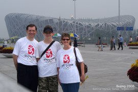 "In 2008, we got to experience the Olympics first hand. Note the Olympic Flame above the ""Bird's Nest"" stadium."