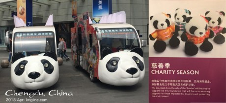 Chengdu is certainly proud of pandas--native to Sichuan Province. We bought the quartet on the right at our hotel, with proceeds going to charity, and the bears going to our grandchildren!