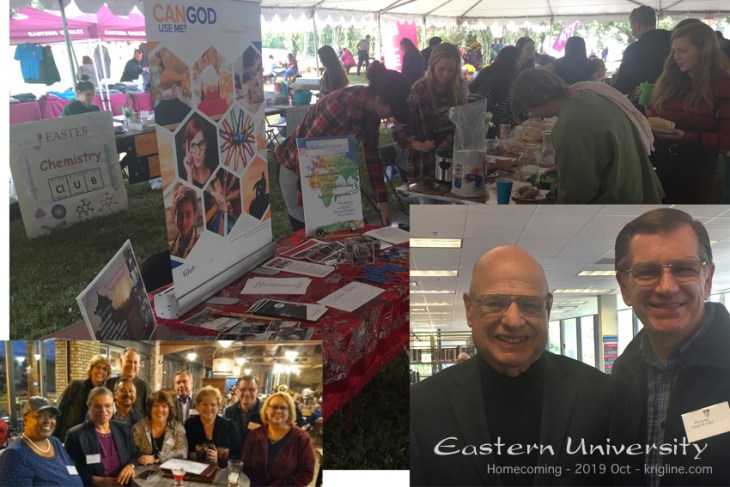 "Another reason for my trip was to attend Homecoming at Eastern University. The left inset is a ""class reunion""; the right inset is my favorite professor, Tony Campolo. While there, I also had a table, inviting people to teach in China or serve in a similar way around the world."