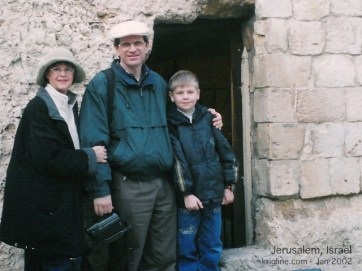 Vivian, Michael and Andrew outside the Garden Tomb.