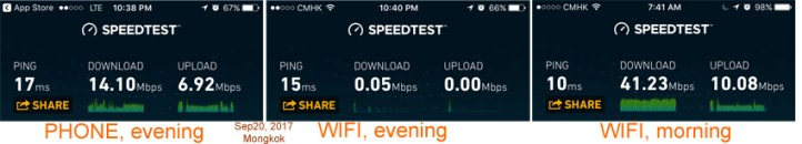 """These screenshots show the changing data speed in our apartment, at different times, using """"data"""" vs """"wifi"""""""