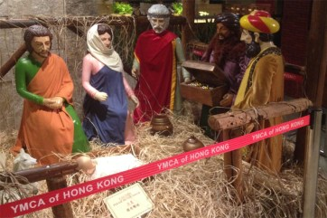 "Amidst the omnipresent Santa and snowflake decorations in HK, it was refreshing to see this nativity scene at the HK Young Men's Christian Association (YMCA) hotel. The ""Y"" also has a nice Christian bookstore, Bible studies and other meaningful activities year round."