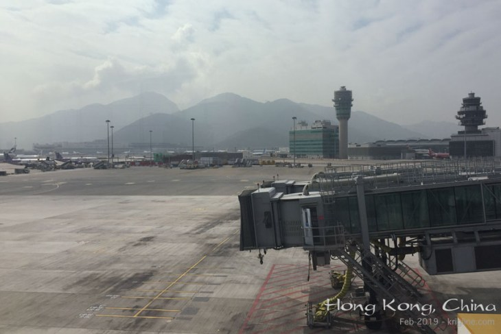 The Hong Kong airport is a very familiar sight. I never cease to marvel at the engineering feat of constructing such a large, busy airport on a man-made island--because there just isn't much flat space in mountainous Hong Kong.