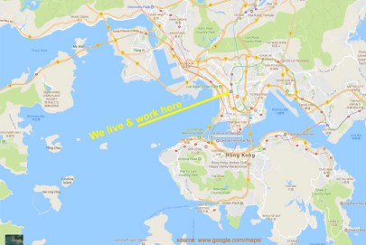 Here's a Google map to show you what I was looking at from the plane [next photo], namely the top part of Hong Kong Island, and the Kowloon peninsula. We live and work in the center of the latter (can you find that spot on the arial photo?). There's a white block in the middle that shows 2 km (1.25 miles), just to give you some idea of scale.