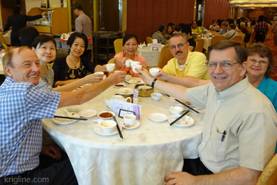 While Julian was visiting from Singapore, our staff enjoyed a nice lunch together. As teetotalers, we toast with tea!