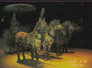 Bronze chariots and horses were also discovered in the tomb. This shows how the Emperor traveled with his army.