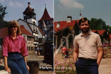 Here we are in 1989, on our Honeymoon, as we passed through Helen, Georgia...