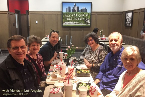 In Los Angeles, we talked about our work with colleagues, most of whom we'd never met before. They asked what we wanted as our last meal in the US, and we said Chick-fil-A -- a delicious treat you can't find in Hong Kong!