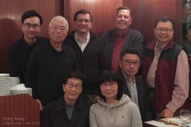 "These are some of the wonderful people who lead the charity we work for--or did in years past. One of the men who held my ""Director"" position years ago was visiting HK, so we gathered to honor him and present/former Board members."