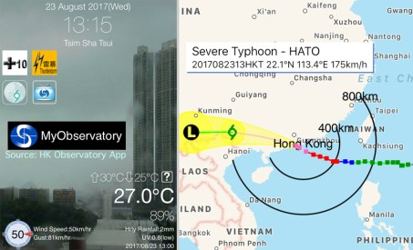 Severe Typhoon Hato is our second typhoon this season, and the strongest we've seen so far (strongest in five years). In our experience, typhoons normally blow over in 8-10 hours.