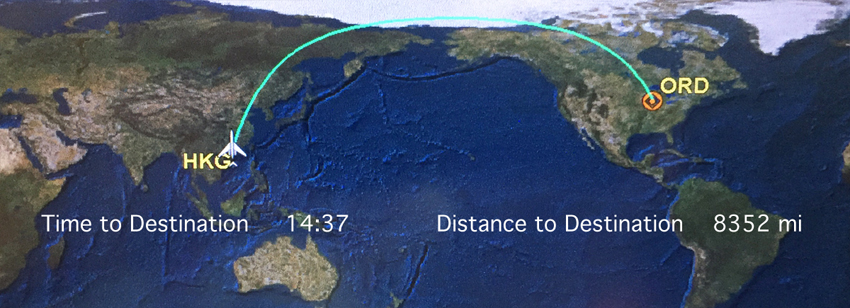 I have no idea how many times we crossed this ocean! When we lived in China, it normally took 36 hours door-to-door, shortened to about 24 hours between Hong Kong and Columbia.