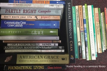 """It's always hard to part with good books, but they are """"heavy""""! This box was given to a local seminary library. It felt good knowing that these treasures will help future students grow in their faith."""
