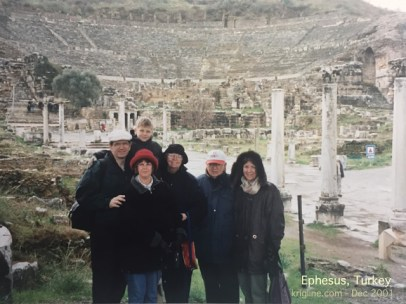 Here's our family, with the Ephesus amphitheater in the background.