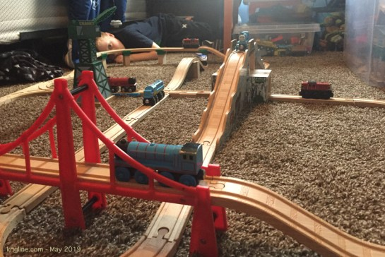 """Grandpa duty"" can be a lot of fun, and a lot of work! My grandson and I love trains and Lego. But I'm not used to spending so much time on the floor anymore!"