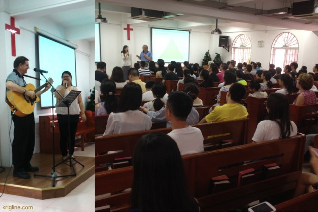 """On Saturday, I was invited back to """"Bamboo Church / Bridges"""" to share in song. I really miss being in Xiamen to help these people learn English and address life's tough questions with sound answers. Singing my songs with Shirley was also a delight!"""