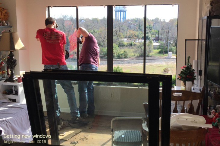 """When we moved into our """"condo"""" in September, we could see through only 2 of 8 windows! The internal seals had broken long ago, leaving an internal """"cloud"""" that these workman said was worse than they'd ever seen. Now we can see through all 8 panes, and the kids love watching the trains go by (frequently!)."""