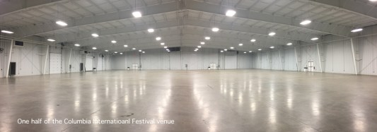 This empty hall at the State Fairgrounds gives a hint at the magnitude of my role for the Columbia Int'l Festival; we will fill two rooms this size, with almost 100 national exhibits, a food court, stage, bazaar, and more.