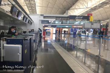 The HK airport, normally packed with people, was strangely quiet as American carriers started to cancel flights. Fortunately, I was re-routed on a HK airline, and got home before the travel ban.