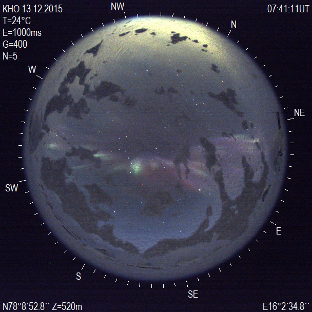 ZWO all sky camera captures aurora from Svalbard. (c) UNIS