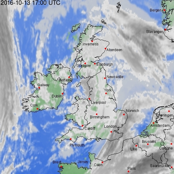 Cloud cover at 1700 UT (1800 BST). Image from weatheronline.co.uk