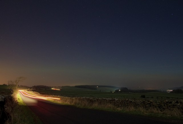 Aurora and car headlights seen from Lancaster, UK. Taken January 20th, 2015. Exposure: 15s. Photographer: Steve Marple