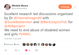 Excellent research led discussions organised by Dr @HannahnagroM with @SusieBalderston and @BeckstaylorFish for @AVAproject. We need to end abuse of disabled women and girls #VAWG