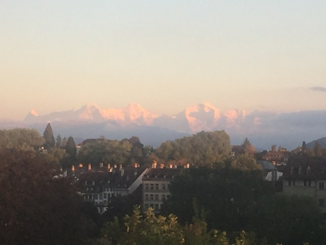 Bern and a view of the Eiger, the Monch and the Jungfrau