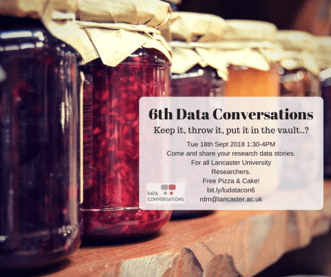 Digital flyer promoting 6th Data Conversations to be held 18th September, 13:30-16:00, the Library, C130. Link below.