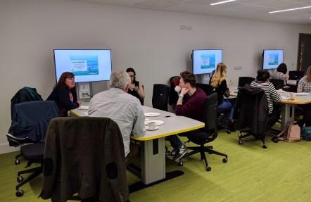 Data Conversations' attendees enjoying refreshments and conversation