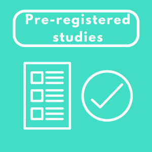 "Image with the heading ""pre-registered studies"" accompanied with a large tick"